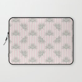 Vintage Cabana Cafe - Fan Palm & Pink Stripes Laptop Sleeve