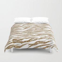 White & Glitter Animal Print Pattern Duvet Cover