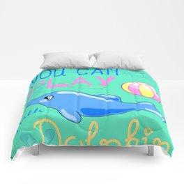 Underwater Cartoon Poster with Dolphin Comforters