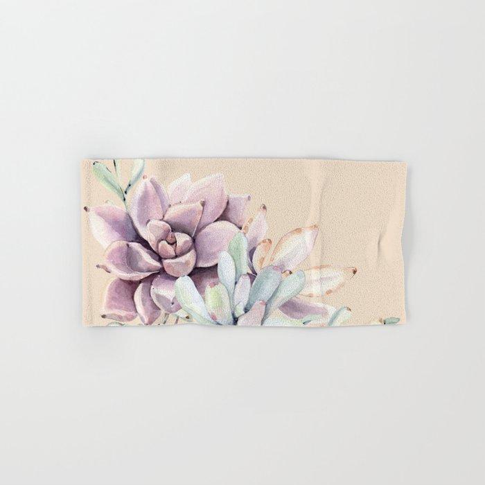 Trendy Apricot + Mint Succulents Hand & Bath Towel