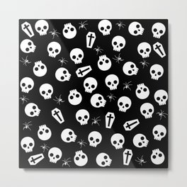 Skull, spider and chest  - Halloween pattern Metal Print