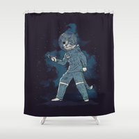 tom hiddleston Shower Curtains featuring Major Tom by Thomas Orrow