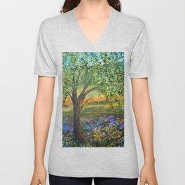 Serene Meadow, Impressionism Landscape Unisex V-Neck