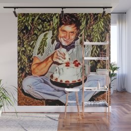 Eating Cake in a Bush with Johnny Cash Portrait Painting by Jeanpaul Ferro Wall Mural