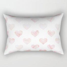 Pink Marble Hearts Rectangular Pillow