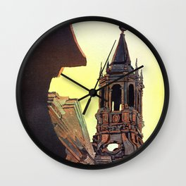 Watercolor painting of the Cathedral on the Plaza de Armas in Arequipa, Peru. Wall Clock