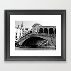 Rialto bridge in black and white Framed Art Print