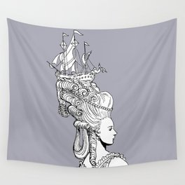 Girl With Ship Wall Tapestry