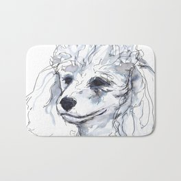 Poodle (portrait for my mom), watercolor Bath Mat