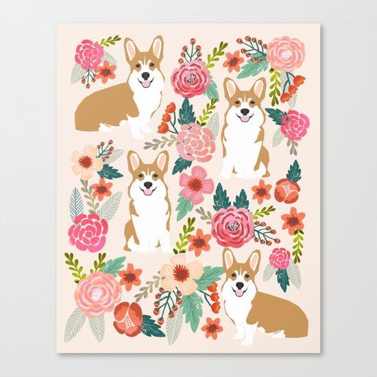 Corgi floral spring bloom flowers nature garden dog dog breeds corgis cute corgi puppies love  Canvas Print