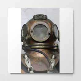 Antique vintage metal underwater diving helmet Metal Print