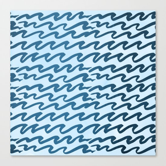 Abstract Metallic Sea Waves Saltwater Taffy Teal on Blue Raspberry Canvas Print