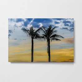 Palm Trees against Sunset Sky Metal Print
