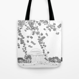 Cherry Blossoms at the Jefferson Memorial Tote Bag