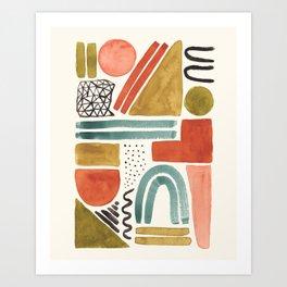 Abstract Shapes Watercolor Art Print