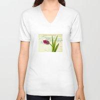 tulip V-neck T-shirts featuring Tulip by inkedsandra