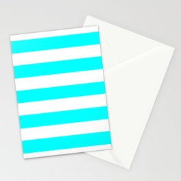 Electric cyan - solid color - white stripes pattern Stationery Cards