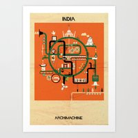 india Art Prints featuring India by federico babina
