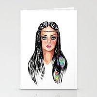 hippie Stationery Cards featuring hippie by knutsius