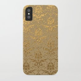 Gold Metallic Damask Beige iPhone Case