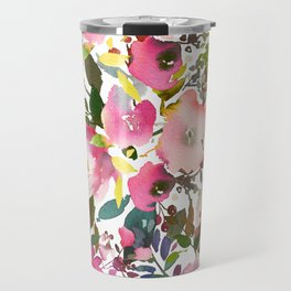 Pink coral forest green watercolor floral Travel Mug