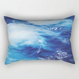 Navy Blue Ocean Wave Rectangular Pillow