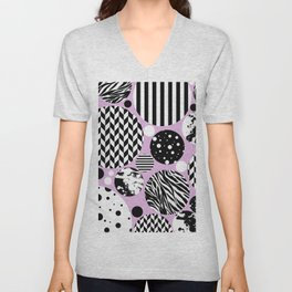 Eclectic Black And White Circles On Pastel Pink Unisex V-Neck