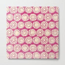 flower block ivory pink Metal Print