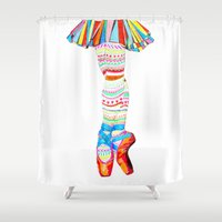 ballet Shower Curtains featuring Doodling Ballet by Heaven7