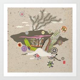 Flora Crane Art Print
