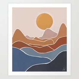 Mountains -Outlined Art Print