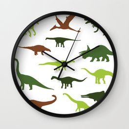 Green dinosaurus pattern Wall Clock