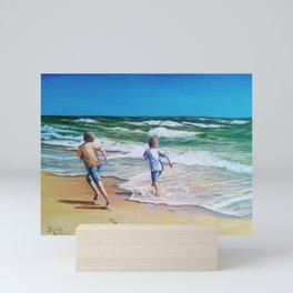 Ocracoke Kids at Beach Playing by Sonya Allen Mini Art Print