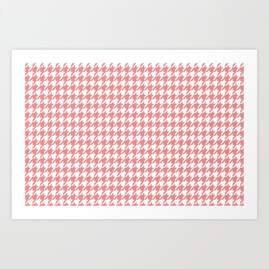 Houndstooth - Coral Art Print