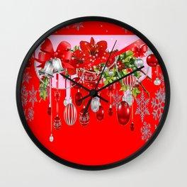 RED CHRISTMAS SNOW FLAKES & AMARYLLIS CHRISTMAS ORNAMENTS Wall Clock