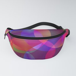 Abstract soap made from cosmic transparent purple circles and purple bubbles on a dark background. Fanny Pack