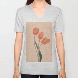 Orange Tulips Unisex V-Neck