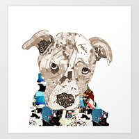pit bull Art Prints featuring a pit bull day by bri.buckley