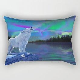 Arctic Prayer - White Wolf and Aurora Rectangular Pillow