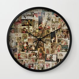 Merry Christmas - Santa angels & friends - collage Wall Clock