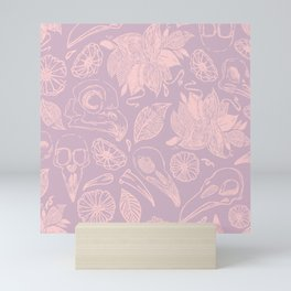 Skulls and flowers in soft pink and lilac Mini Art Print