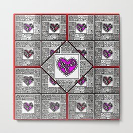 Big hearted Love (pink and white) Metal Print