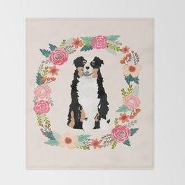 australian shepherd tricolored floral wreath dog gifts pet portraits Throw Blanket