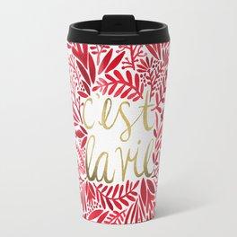 That's Life – Gold & Red Travel Mug
