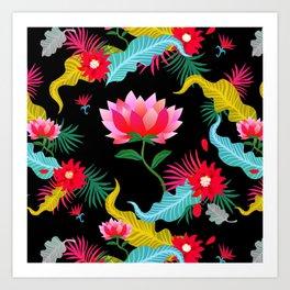 Lotus flower pattern artwork Art Print