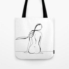 Woman Line Drawing Tote Bag