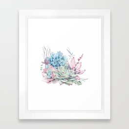 Pretty Pastel Succulents Framed Art Print