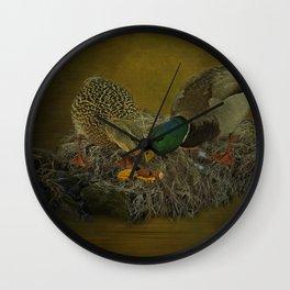 Mallards Having A Meal Wall Clock