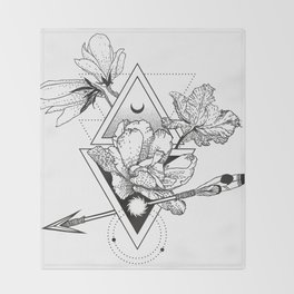 Alchemy symbol with moon and flowers Throw Blanket