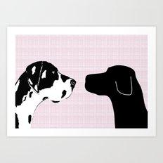 Great Dane and Black Labrador Dogs Art Print